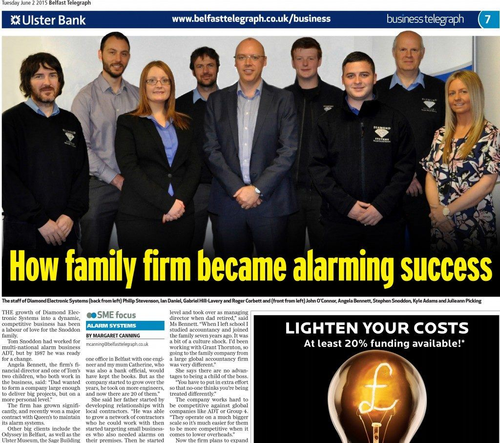 Diamond Systems Team Photo Belfast Telegraph