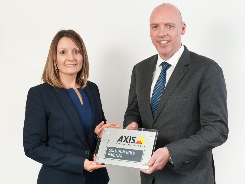 Stephen Snoddon and Angela Bennett - Axis Communications Gold Partner plaque.